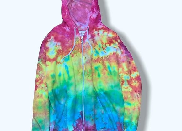 XL Mystical Rainbow Gradient Tie Dye Zip Up Hoodie