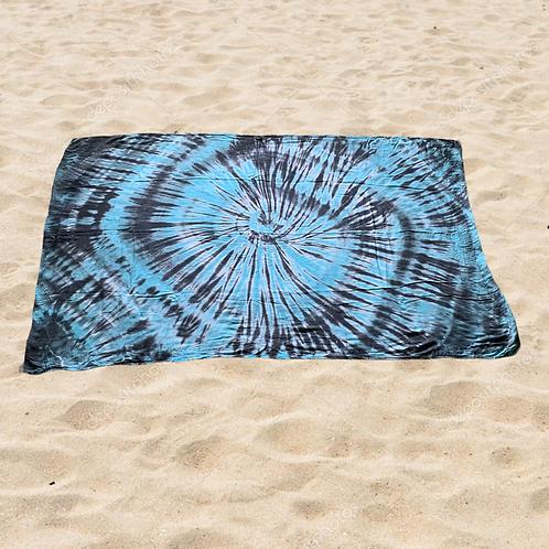 Aqua Black Tie Dye Sarong
