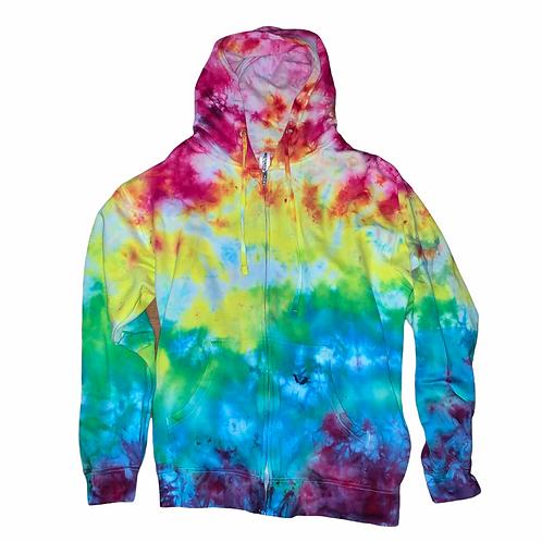 Large Mystical Rainbow Gradient Tie Dye Hoodie Zip-up