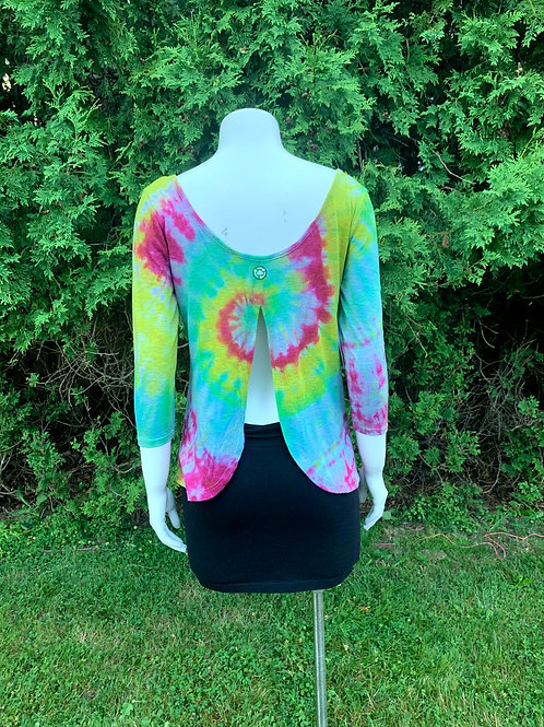 S/M Open Back Mystical Rainbow Tie Dye Shirt Upcycled