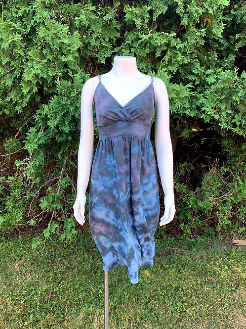 Large Adjustable Strap Tie Dye Cotton Dress Upcycled