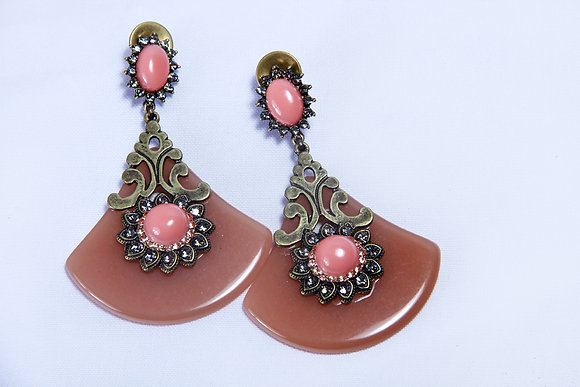 Fan coral amber earrings