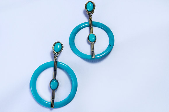 Turquoise rustic hoop earrings