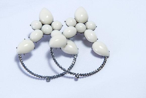 White pearl silver-tone hoop earrings