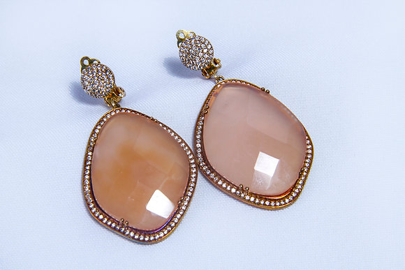 Gold plated amazonite clip earring
