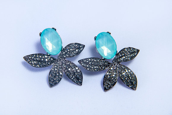 Enamel turquoise flower earrings