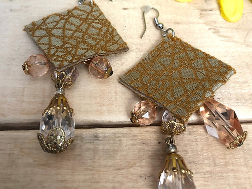 Diamond Shaped Earrings  - Striped Gold Fabric pattern + Clear jewelry accent