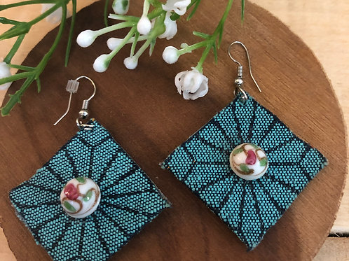 Diamond Shaped Earring - Starburst Teal fabric + Rose button