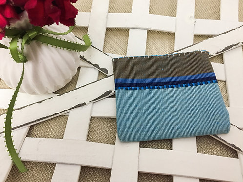 Blue and brown small card holder