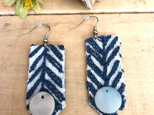 Rectangle Long Earrings  - Dark Blue Embroidered Pointed fabric + Shiny accent