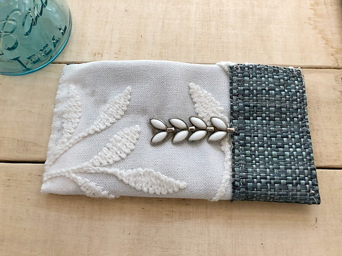 White and blue patterned small bag