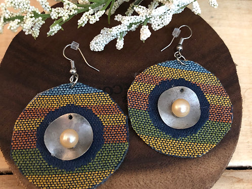 Circle Shaped Earring  - Blue, Green & Gold striped fabric + Pearl ac