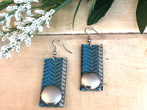 Rectangular Long Earrings  - Teal Striped fabric + Shiny Silver button