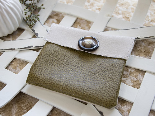 Gold and Olive leather medium card holder