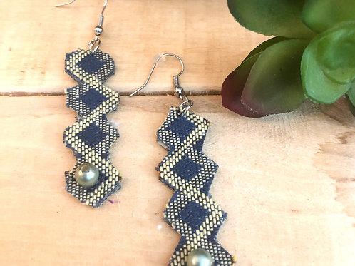 Rectangular Long Earrings  - Blue & Yellow Zig Zag Pattern fabric + Pearl accent