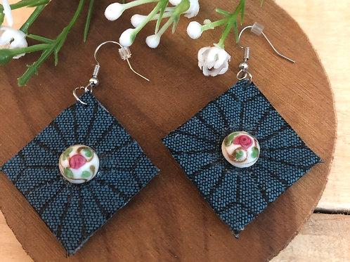 Diamond Shaped  Earrings  - Starburst Dark Blue fabric + Rose button