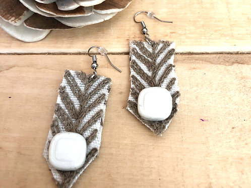 Rectangle Long Earrings  - Tan Embroidered Pointed fabric + White button