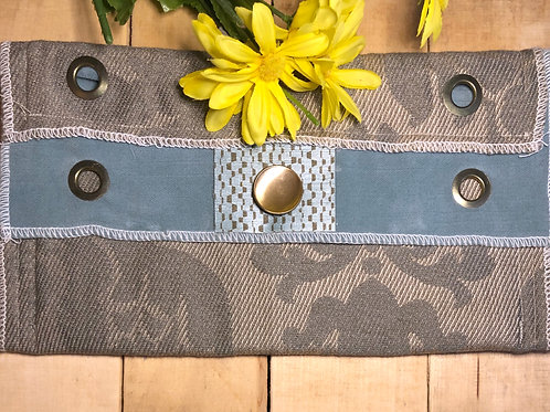 Gray & Blue patterned four revit clutch