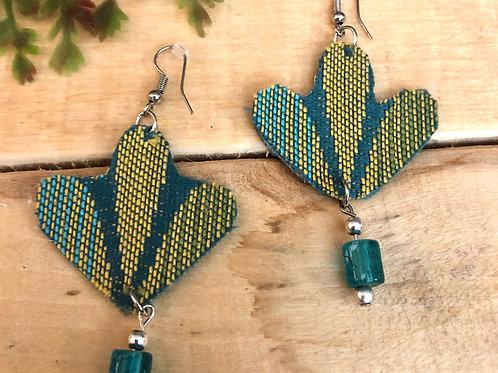 Fan Shaped Earrings  - Blue & Green pattern +Blue bead dangle