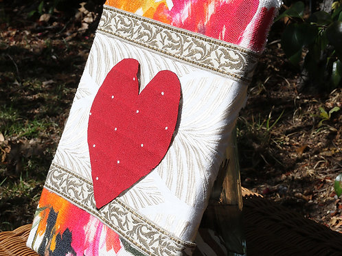 Heart Series: Floral back with red heart canvas