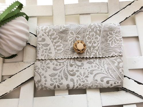 Silver and ivory floral small bag
