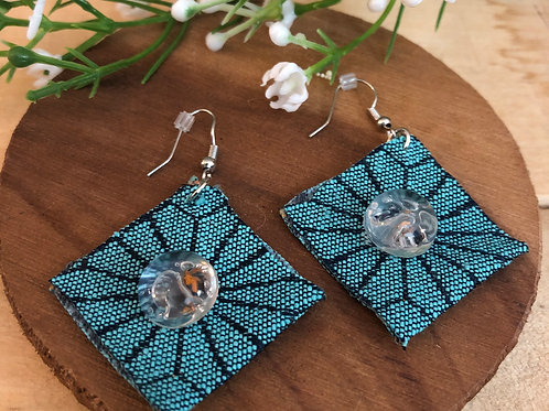 Diamond Shaped  Earrings  - Starburst Teal fabric + Clear Button