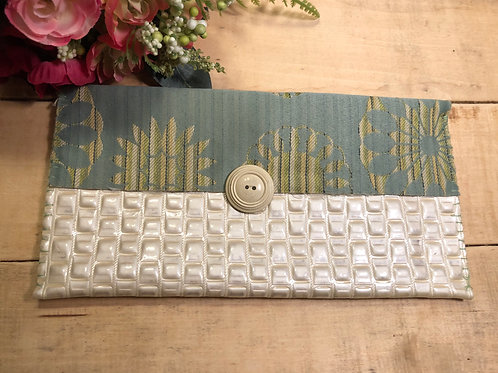 Ivory textured and sage green patterned medium bag