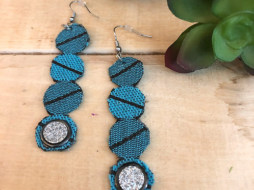 Rectangular Long Earrings  - Blue Striped Pattern fabric + Shiny acce