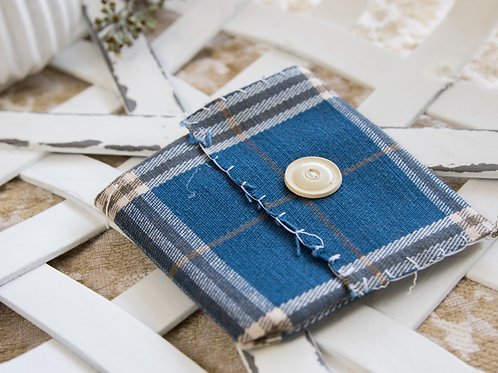 Blue and White plaid small card holder