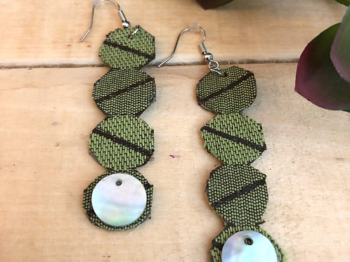 Rectangular Long Earrings  - Green Striped Pattern fabric + Shiny button accent