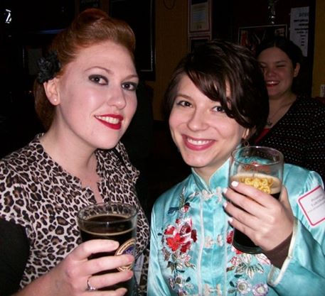 Erica Minutella (right) and Rachel Clark (left) at a beer crawl they hosted for their Philadelphia ExBeeriment beer blog followers.