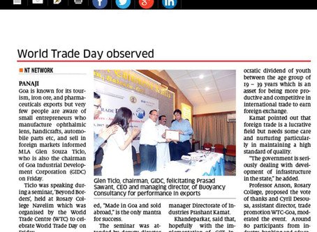 Featured in The Navhind Times at WTC Goa for 'Best Performance in export service sector'