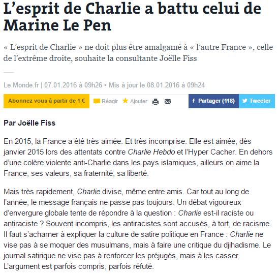 """""""L'esprit de Charlie"""" ne doit plus être amalgamé à """"l'autre France"""", celle de l'"""