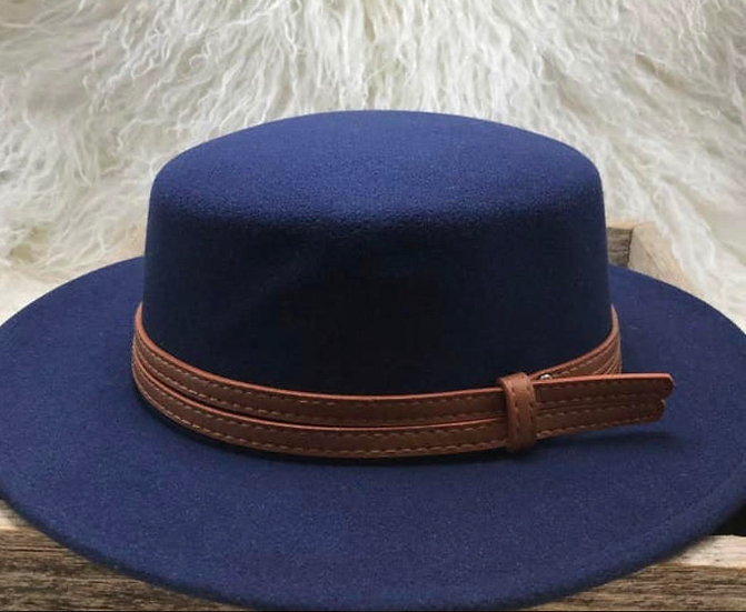 Blue Hat with Brown Vegan Leather Belt