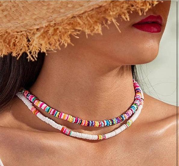 Rainbow Resin Beaded Necklace