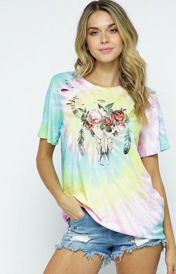 Tie Dye Bulls Head T-shirt