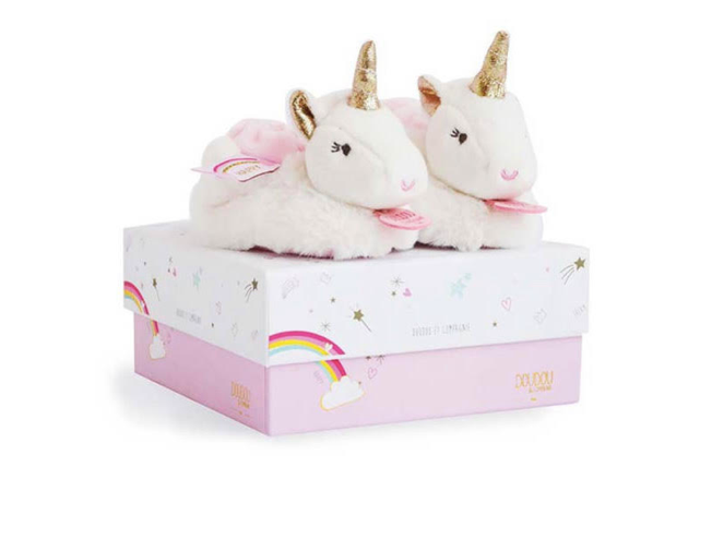 Unicorn Baby Booties With Rattle