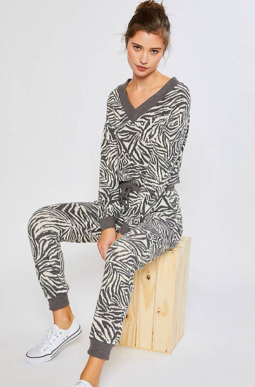 Zebra Print Pullover & Jogger Pants (Sold Separately)