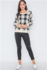 Geo Print Color Block Knit Sweater