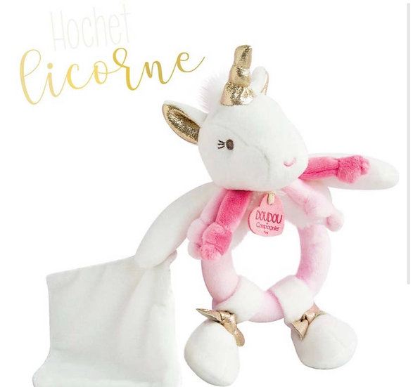 Unicorn Rattle with Small Blanket