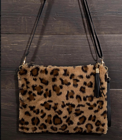 Furry Leopard Print Cross Body Bag