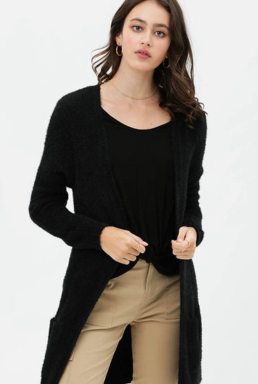 Furry cardigan with pockets