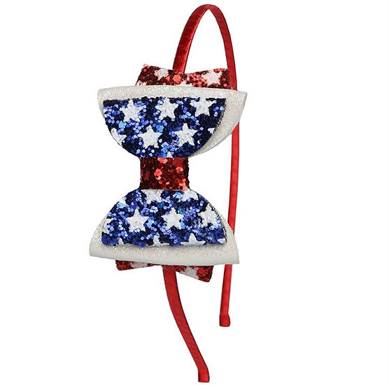 Red White & Blue Bow Headband
