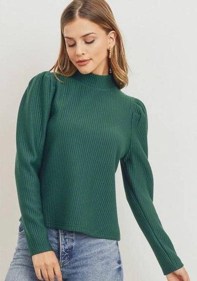 Rib Knit Mock Neck Back Button Long Sleeve