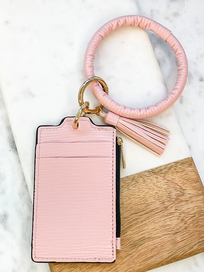 Key Ring Zip Wallet with Tassel - Pink