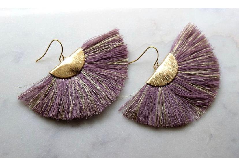 Purple Fan Earrings