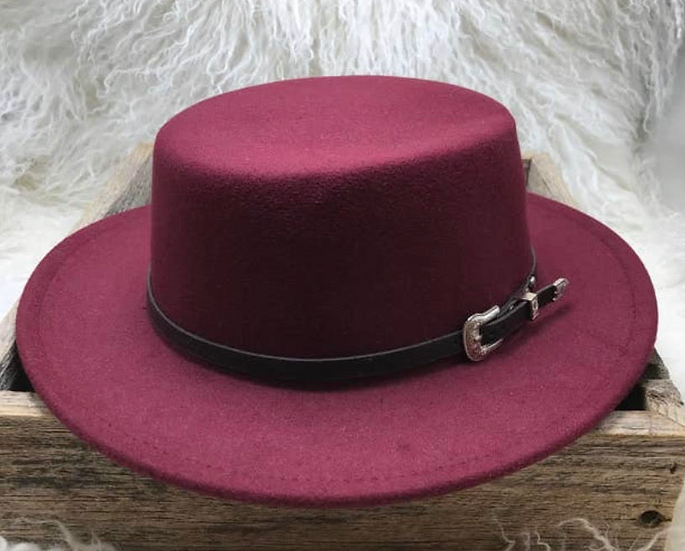 Burgundy Hat with Vegan leather Belt