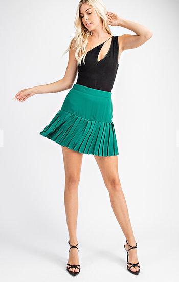 Hunter Green Pleated Skort Skirt