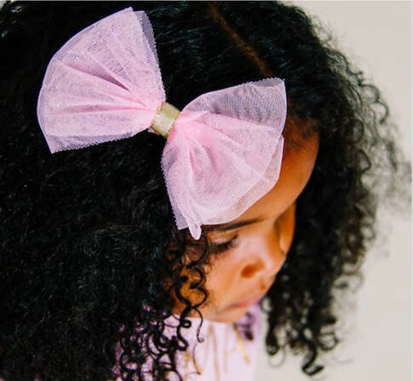 Light pink Tulle Bow Hairclip