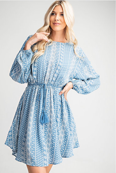 Blue Abstract Print Belted Dress
